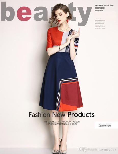 Schöne Nationalität Stil Druck Kleider, Frühling und Sommer modische Frauen, Kurzarm, Rundhalsausschnitt, eine Farbe