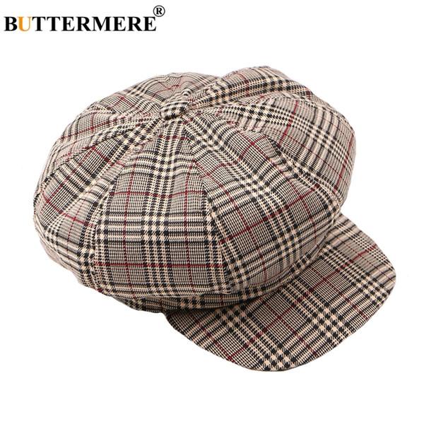 a3362750e Wholesale Octagonal Hats Women Plaid Flat Caps Casual Vintage British  Female Newsboy Gatsby Cap Oversized Cotton Stylish Spring Floppy Hats Black  ...