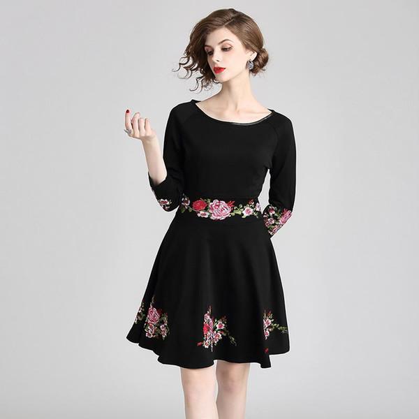 Compre Vestidos De Túnica Con Flores Para Mujer Una Línea Mini Vestido Manga Larga Mujeres Delgadas Fiesta Pequeño Vestido Negro A 8973 Del