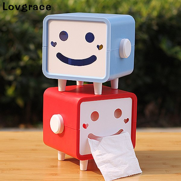 Lovgrace Cute Smiling Face Tissue Boxes Napkin Tissue Holder Container Napkin Car Box Dispenser Storage Home Decor