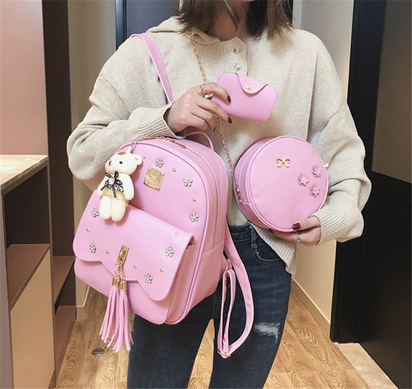 Designer Luxury Backpack Purses Womens Bag New Fashion Recreational Soft Rivet and Tassel Three Piece Shoulder New Arrival Handbags Fashion
