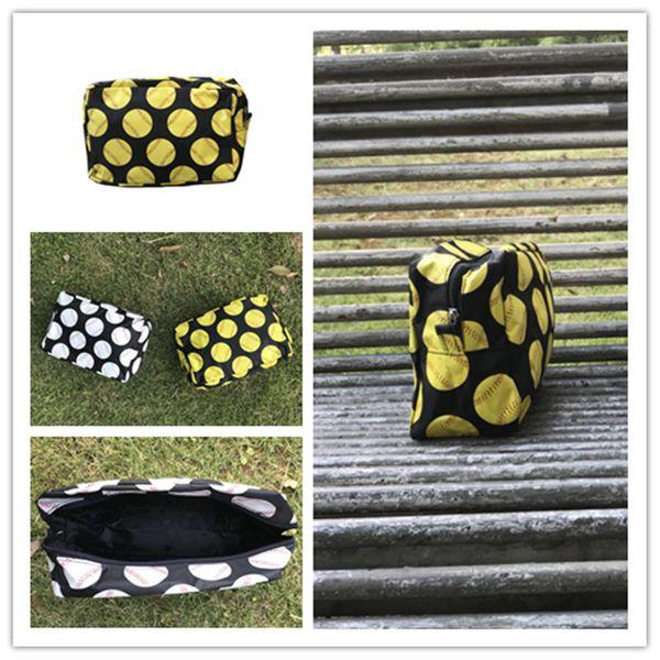 Nylon baseball softball cosmetic bag Zipper Make up bags For Toilet Bathing Pouch Travel Women's Travel Cosmetic Bag Wholesale 2019