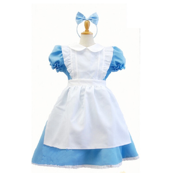 arnival costume children girl blue alice in wonderland halloween costume for kids party lolita maid dress cosplay Fancy carnival costumes...