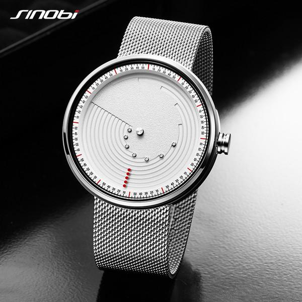 Sinobi yaratıcı dial saatler kuvars İzle erkekler ultrathin uzay-zaman paslanmaz çelik gümüş mesh band relogio masculino en iyi hediye
