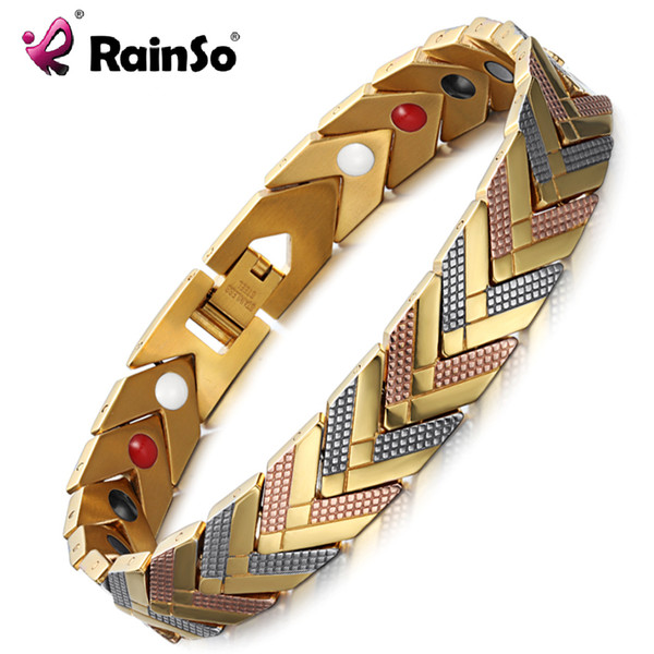 Rainso Magnetic Bracelets Bangle For Women 4 In 1 Health Care Bio Energy Germanium Healing Female Jewelry For Arthritis Y19051101