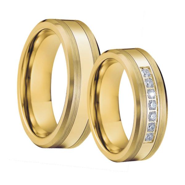 Mens anelli di tungsteno fascia di nozze anello set color oro bague anel anillo titanio anelli di fidanzamento coppia per le donne J 190430