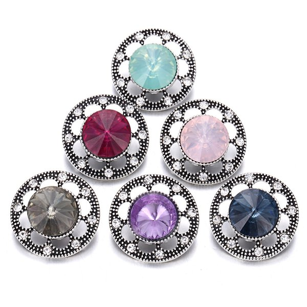 NOOSA Snap Düğmesi Takı Rhinestone Çiçek 18mm Metal Yapış Düğmeler için Yapış Bilezik Kadın Erkek Düğme Takı