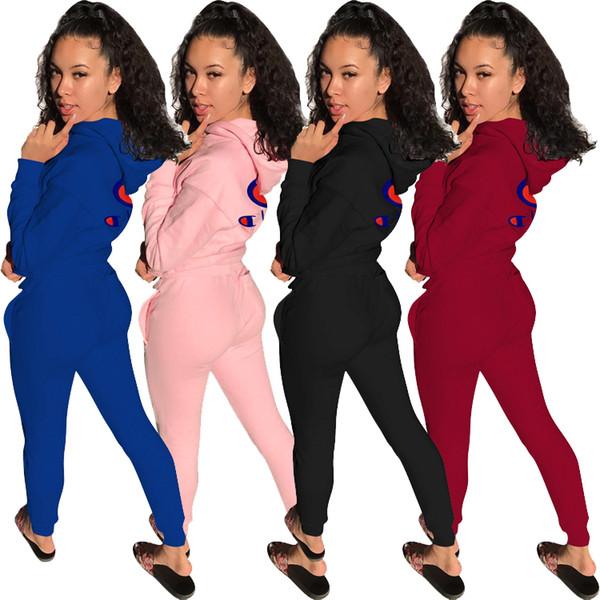 Mulheres designer sportswear camisa de manga longa calças de treino legging legging 2 peça set bodycon roupas roupas femininas hot klw0149