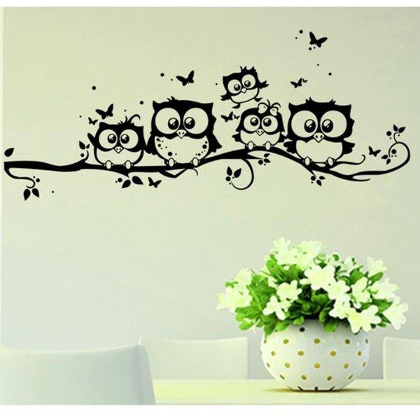 Duvar Çıkartmaları Yatak Odası PVC Duvar Çıkartmaları Bebek Odaları Çocuklar Için Vinil Sanat Karikatür Baykuş Kelebek Sticker Dekor Ev Çıkartması K521