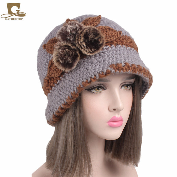 Lady Winter crochet bucket hat knit Cloche cap with three hair bulb