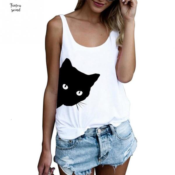 Verão Regatas Para Mulheres Streetwear Cat alças Imprimir O Neck Sem Manga Túnica T Shirt Roupa Mulheres