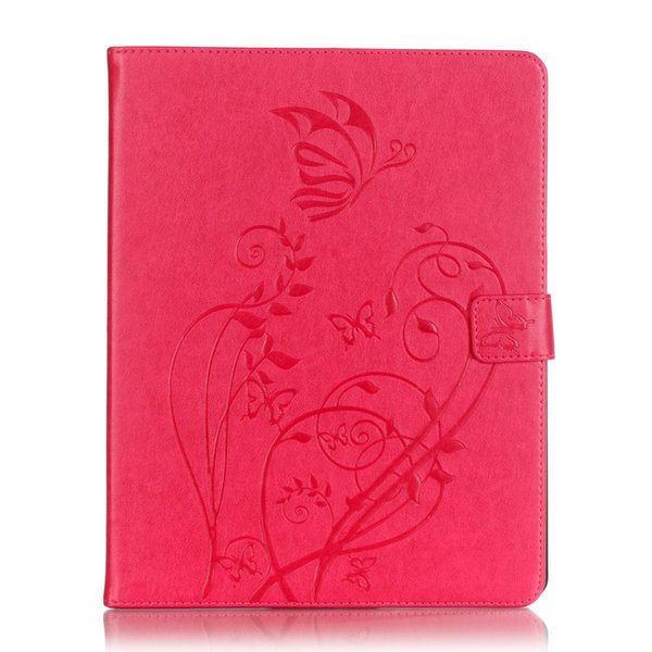 For Samsung Galaxy Tab A 10.1 2016 T580 T585 butterfly embossed flat leather case flip cover card holder + Pen