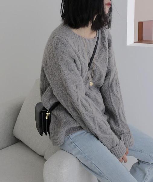 O pescoço camisola mulheres soltas capuz 2019 Outono Inverno Grosso New selvagem cor sólida Breves Casual Mulheres camisola de malha completo-luva