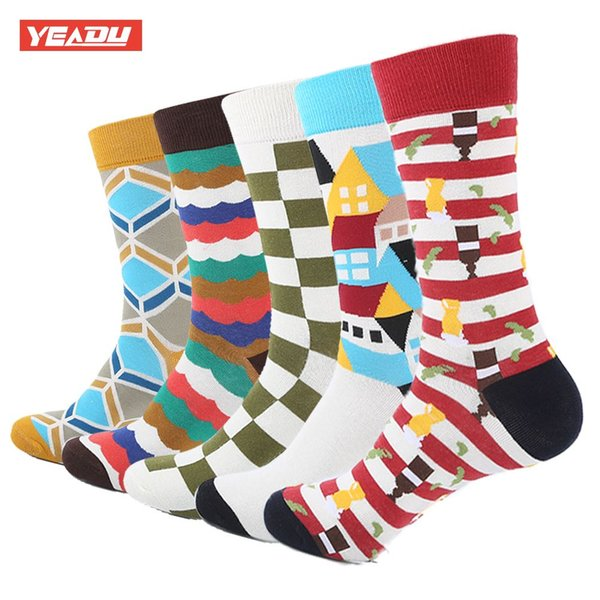 YEADU 5 Pair/Lot Men's Funny Colorful Combed Cotton Socks Geometry Style Dress Casual Crew Socks for Man
