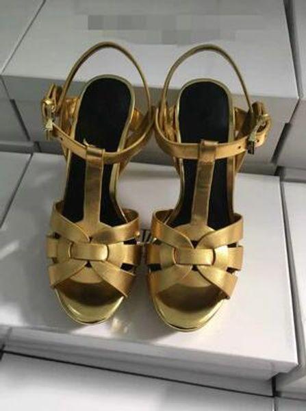 2019 New Tribute Patent / Sandalias de plataforma de cuero suave Zapatos de mujer T-strap Tacones altos Sandalias Zapatos de dama Bombas Cuero original