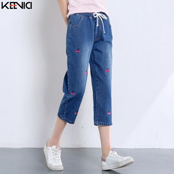 Pantalon court en denim pour femme 2019 nouvelle lâche broderie décontractée jeans haren décontractée femme rue jeans décontracté taille haute