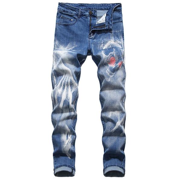 Mens nuova personalità di modo 3D Jeans slim fit pantalone classico denim dei jeans pantaloni del progettista pantaloni casuali diritta elasticità C1