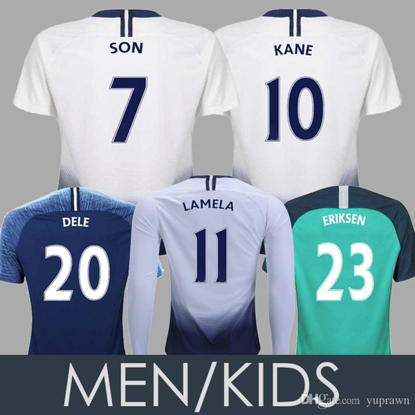 Tottenham Spurs 2019 KANE Camisola De Futebol DELE DEMBELE ERIKSEN Homens Crianças Mulheres Manga Longa FILHO 18 19 LAMELA KANE Camisa De Futebol Crianças Kit Uniformes