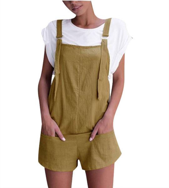 Monos de verano para mujer Monos para mujer Casual Suelta sin mangas para mujer Mamelucos Hot Colorful Ladies Shorts con bolsillos
