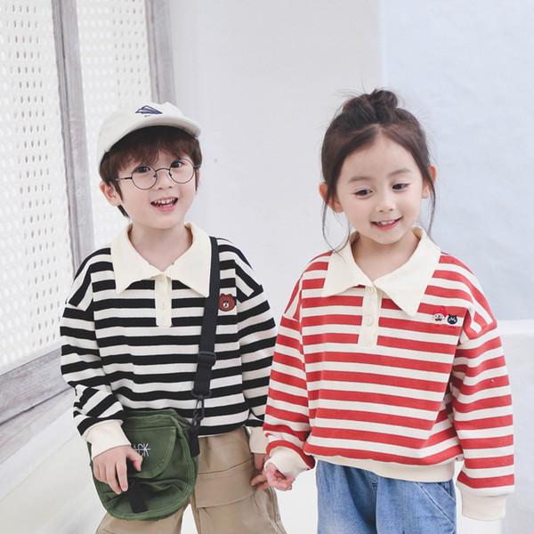 2-color Listrado Bordado Da Criança Do Bebê Meninos Meninas Sweatshirt2 Crianças Hoodies de mangas compridas Turn Down Collar Bebê Meninos Tops Tees