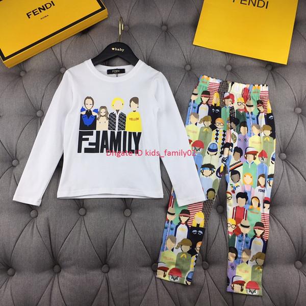 Conjuntos de pantalones para niños, ropa de diseñador para niños, patrón de retrato de dibujos animados, jersey de manga larga + pantalones, conjuntos de otoño de tela de felpa de 2 piezas