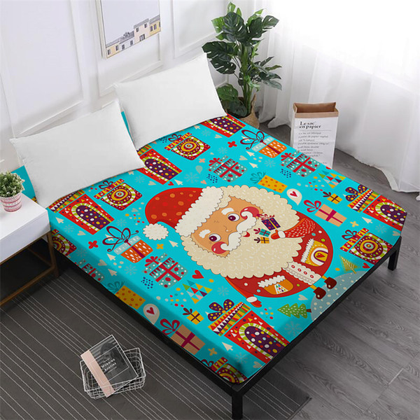 Colorful Christmas Bed Sheet Cute Cartoon Santa Claus Fitted Sheet Multi-Color Christmas Gift Print Mattress Cover Home Textile