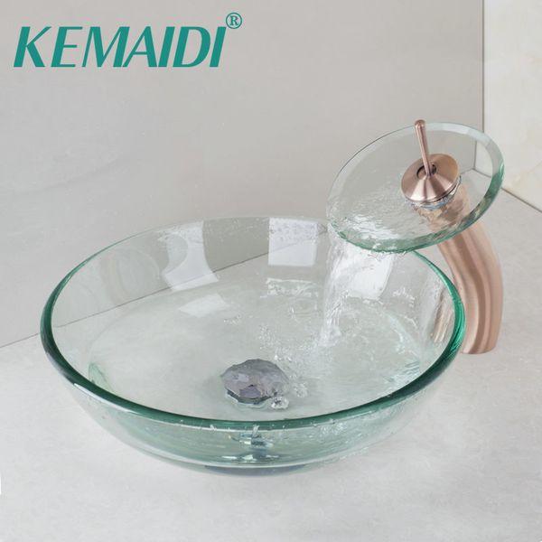 Großhandel KEMAIDI Luxus Waschbecken Toilette Ausgeglichenes Glas  Waschbecken Bad Becken Waschbecken Wasserhahn Set Mischer Wasserhahn  Wasserhahn Bad ...
