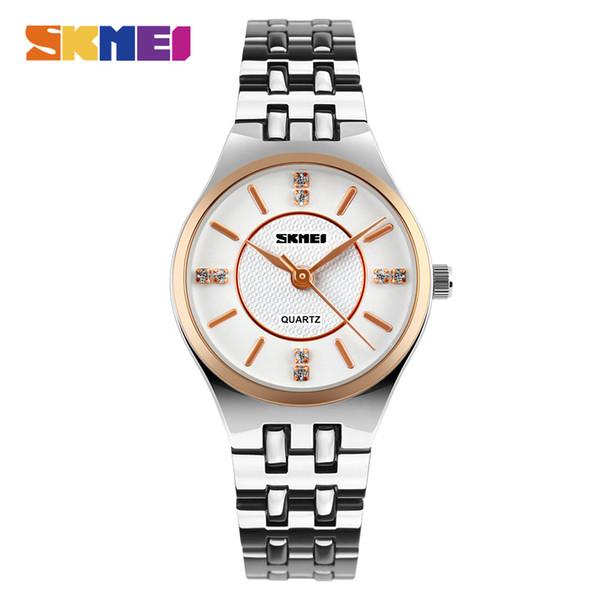 SKMEI Dame Elegante Quarzuhr Luxus Diamant Edelstahl Gehäuse Armband Armbanduhr Wasserdicht Uhr 1133