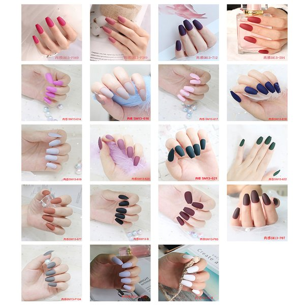 Matte False Nails Colorful Coffin Nails Full Cover Frosted Press On  Artificial Nail Art Tips For Ballerina Party DIY Long False Nails Types Of  False
