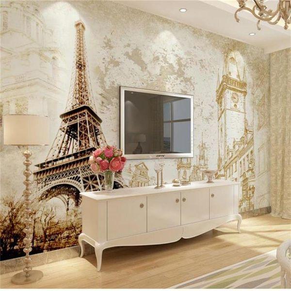 tamaño personalizado papel tapiz fotográfico 3d sala de estar cama habitación nostálgico Torre Eiffel imagen 3d sofá TV telón de fondo papel tapiz no tejido