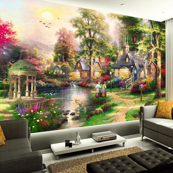 Custom 3d Wall Murals Wallpaper European Style Oil Painting Landscape Hand Painted Living Room Tv Wall Decor Mural Wallpaper Art Kitchen Wallpaper