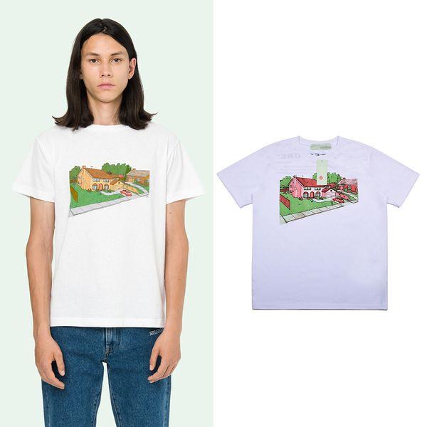 off mens camiseta diseñador de moda camisetas para hombre blanco nuevo estilo de anime arquitectónico impresión camiseta calle patineta deportes camisetas camisetas