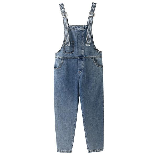 2019 Autumn New Style Korean-style Simple Lazy Suspender Pants Women's Loose-Fit Onesie
