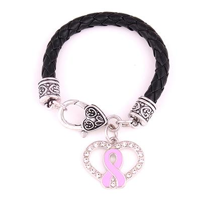 Huilin Jewelry Popular Silver Plated Hollow Heart Shape Pink Ribbon Pendant Bracelet for men and women
