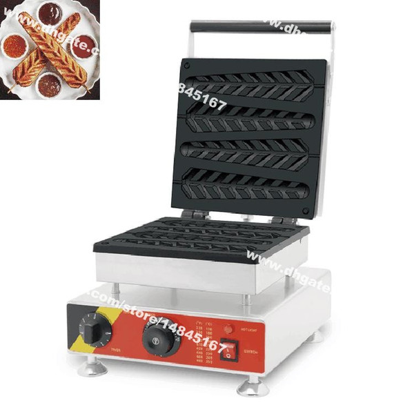 Free Shipping Commercial Use Nonstick 110v 220v Electric 4pcs Belgium Belgian Lolly Waffle Bar Maker Baker Machine Iron