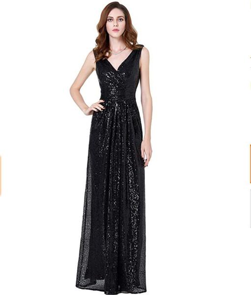 sequined Long V Neck Prom Dresses Sleeveless Sweep Train Chiffon Side Slit A-line Formal Evening Dresses Gown vestido de noche