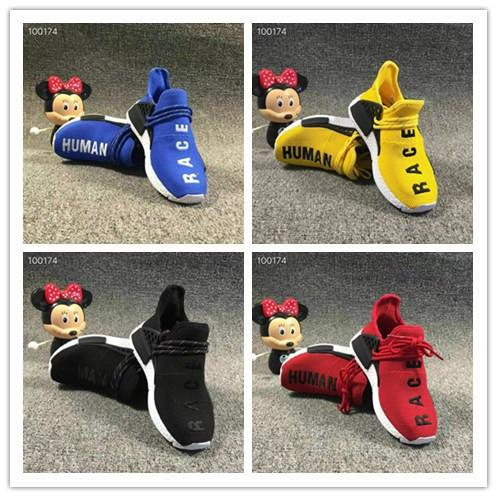 Kids human Sports Shoes for Kid Human Race Trainers Boys Pharrell Williams Pour Enfants Chaussures Children Sport Shoe Youth Sneakers