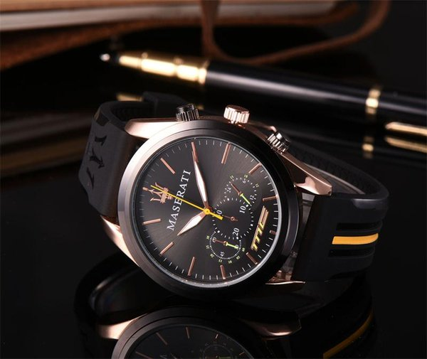 Maserati Business leisure automatic mechanical silicone strap coated glass 316 l stainless steel shell mens watches