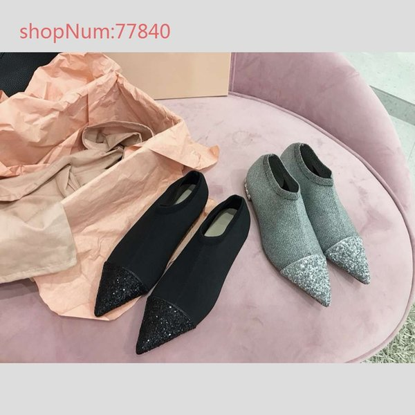 2019 Fashion TOP quality Knitted Fabric with Sequins Pointed toes for Woman Flat Casual Shoes Slip on size 35-39