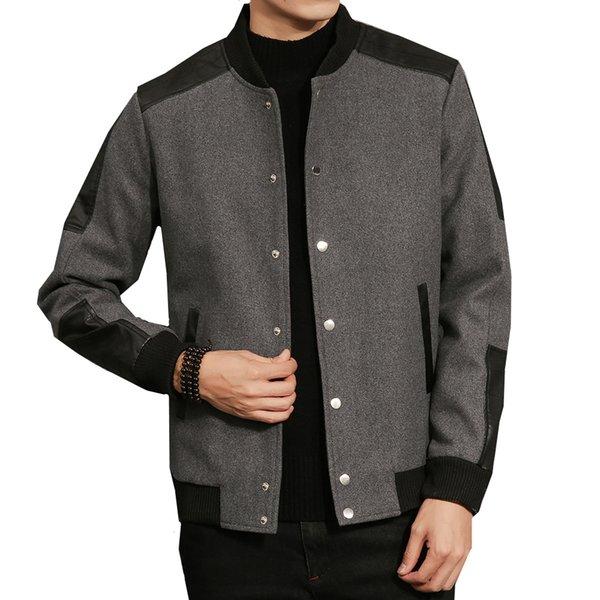 Autumn winter casual jacket for men coat woolen coat stitching male fashion patchwork Baseball collar jackets Plus Size M- 5XL