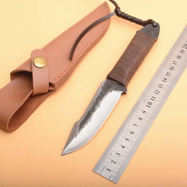 En Kaliteli Survival Düz Avcılık Bıçak Yüksek Karbon Çelik Bırak Noktası Bıçak Ile Tam Tang Kolu Bıçak Deri Kılıf