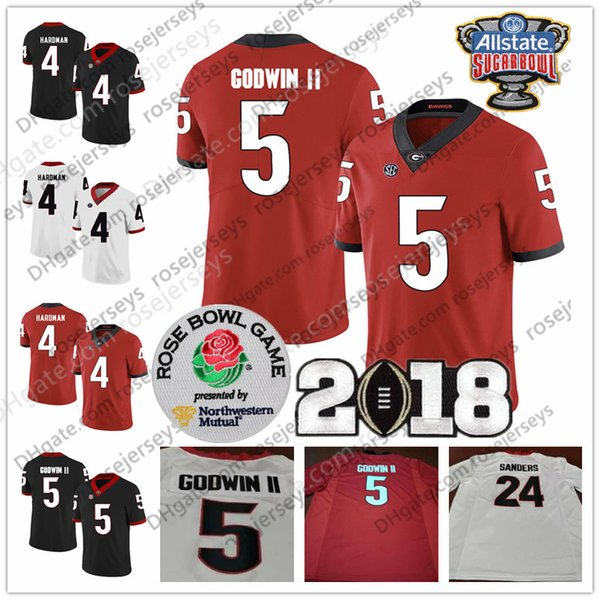online retailer dd562 0398d 2019 NCAA Georgia Bulldogs #5 Terry Godwin II 6 James Cook III Javon Wims 8  Riley Ridley Champions Sugar Bowl Red Black White Jerseys From ...
