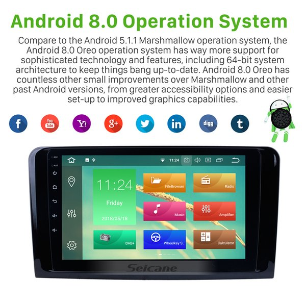 Android 8 0 Car GPS Navi For 2005 2012 Mercedes Benz ML Class W164 ML280  ML300 ML320 ML350 ML420 ML450 ML500 ML550 With 4G WIFI Support OBD2 Latest