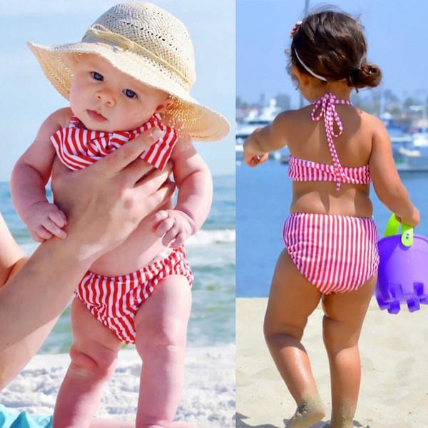 2018 New Style Kids Swimwear 1-6Y Girls Two Pieces Striped Bow Child Swimsuit Children Bikini Baby Girl Halter Swim Suits