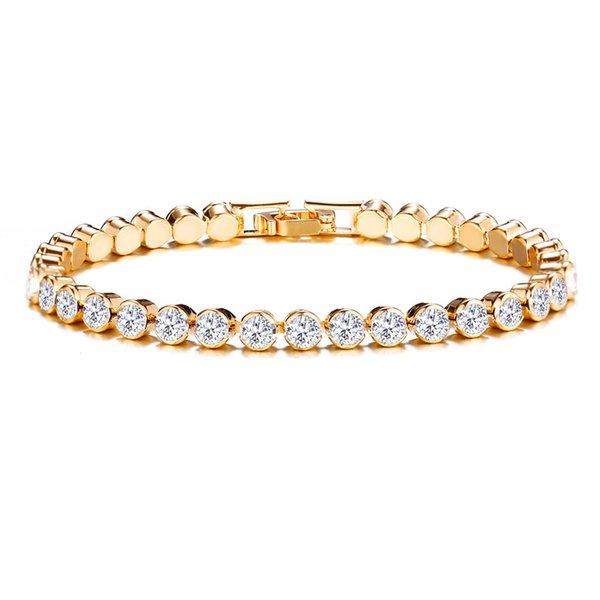 Kadınlar Romantik Kristal Gümüş Bilezik Yuvarlak Rhinestone Moda Charm Link Zinciri Bileklik Bilezik Takı Düğün Hediyesi için