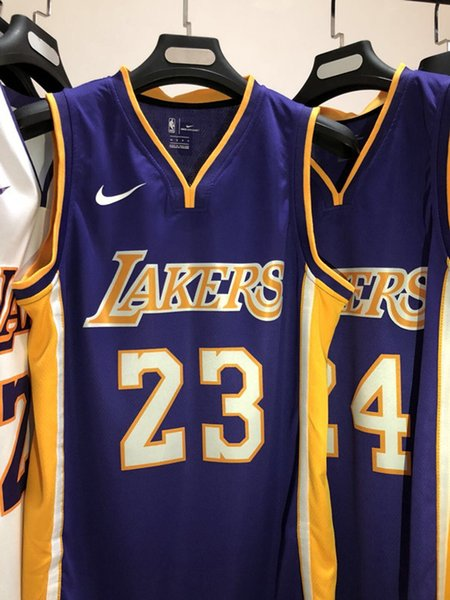 online retailer 079e9 7708d 2019 2020 New Mens Laker 23# LeBron James Road Purple Swingman Basketball  Jersey Name And Number Hot Pressing Printed Authentic US Size XXS XXL From  ...