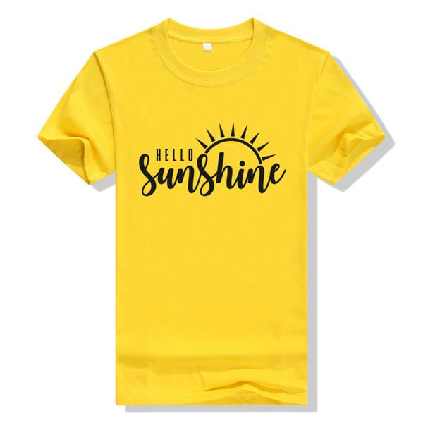 Солнце Рубашка Привет Солнце Рубашка Женщины Желтая Футболка Хлопок Графический Тройники Плюс Размер Футболки Летние Рубашки Женщины Природа Топы