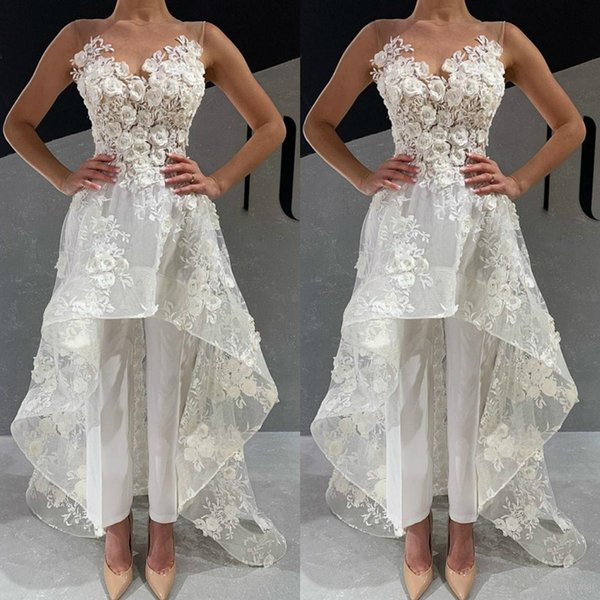 White Jumpsuits Wedding Dresses 2020 New Illusion Neck 3D Floral Appliqued Lace Bohemian Beach Bridal Gowns Boho Wedding Dress Pants