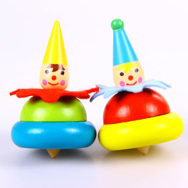 5 paires de clown en bois toupie jouet en bois jouet en clown bébé faire pivoter gobelet jouets éducatifs pour enfants
