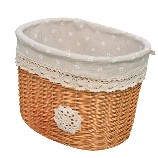 Outdoor Sports Fashion Natural Wicker Linen Lining Bicycle Basket Folding Wicker Front Handlebar Bike Basket Bicycle Accessory